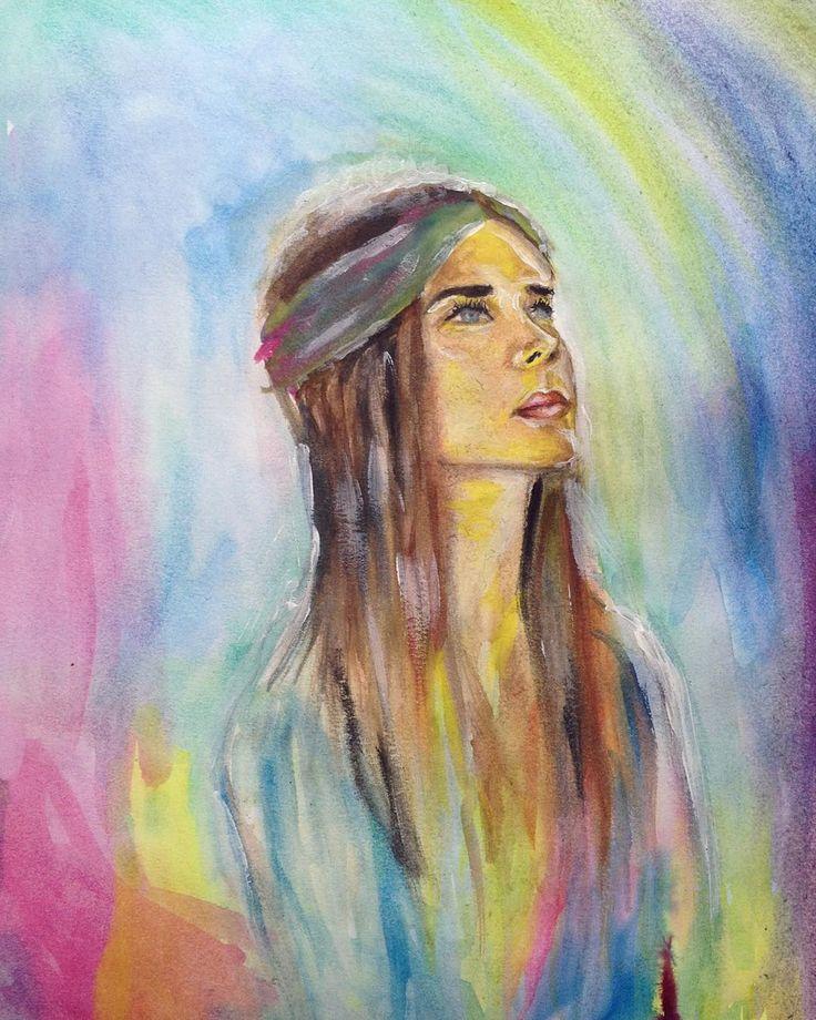 Watercolour & acrylic.  #art #artist #painting #watercolor #drawing #rainbow #radiatelove #goodvibes #her #realism #fashionillustrator #fashionillustration #sketch #bohemian #boho #gypsy #visualdiary #abstract