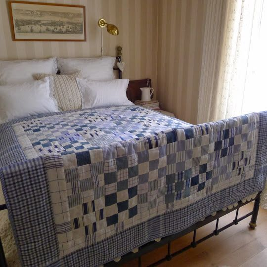 Love this quilt! It is made with old jeans and shirts, worn out and faded old cushion covers (even a loose cover for a chair), and snippets of tea towels and linen fabrics - by Mias Landliv