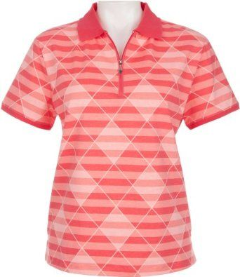 Coral Bay Golf Petite Diamond Stripes Polo Shirt PINK Small Petite Coral Bay. $17.00
