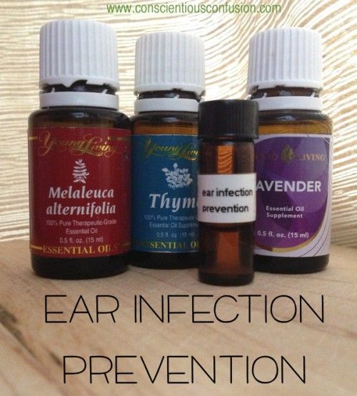 Add 3 drops thyme, 2 melaleuca, 2 drops lavender. apply to outer rim of ear canal. Never put EO's inside ear.
