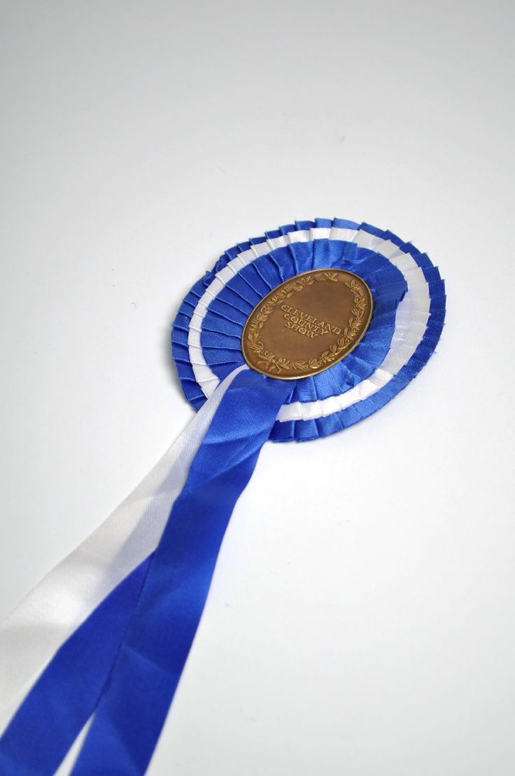 """Cleveland County Show Rosette: Add some personality to your gift wrapping with thisvintage """"Cleveland         County Show"""" Rosette in blue and white. The colour may vary slightly         from each rosette due to age.                  30 x 11cm"""