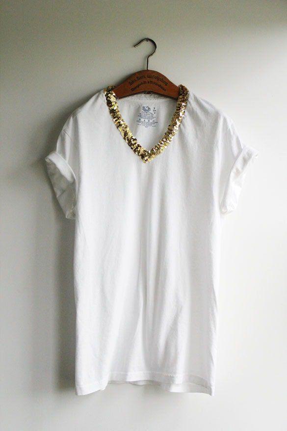 Customizar ropa: 13 ideas para una camiseta DIY de verano | Bordado lentejuelas | Diy shirt, T shirt diy, Shirts