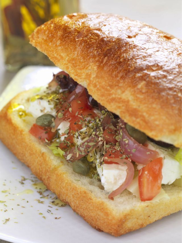 """Revamping a """"Greek"""" sandwich by Chef stories.  Check out our blog @ fournos.gr"""