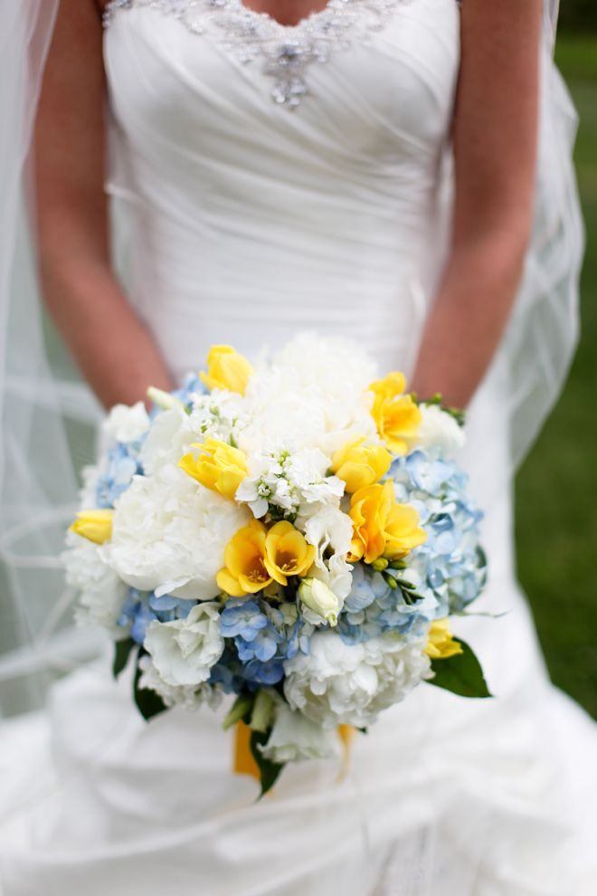 White, blue and yellow.