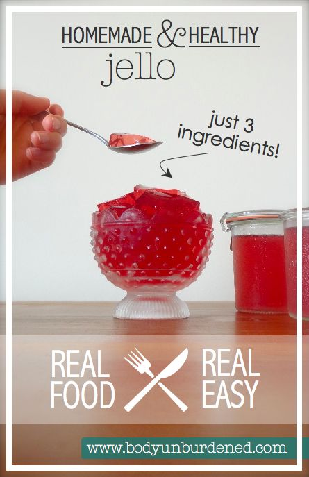 Most store-bought jello is filled with some unhealthy ingredients. Luckily, homemade and healthy jello is so simple to make! It's just 3 simple ingredients (4 if you'd like to add sweetener) and takes less than 5 minutes. Check out this recipe!
