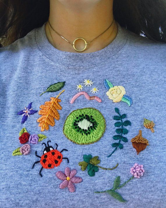 Custom embroidered tee, A cotton tee with a hand embroidered