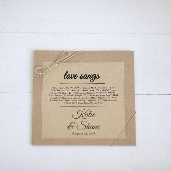 Wedding Love Song Favors -  Rustic Wedding - Kraft Stickers for CD sleeves 4in x 4 in Set of 12