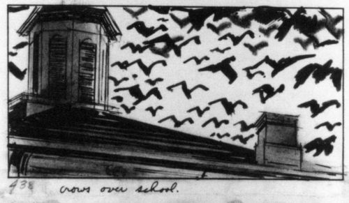 Storyboard of the bird attack on the school (''The Birds''). The caption reads ''crows over school''