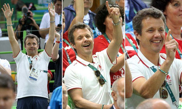 8/8/16*Prince Frederik gets into the Olympic spirit at the men's handball