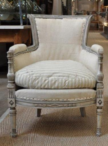 french linen armchairs. pair of painted directoire style armchairs - these are currently being re upholstered in a cream/white linen which enables the frames to stand out. french