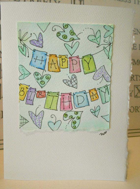 Birthday+On+The+Line+Big+Card+5x7+Watercolor+by+betrueoriginals,+$3.50