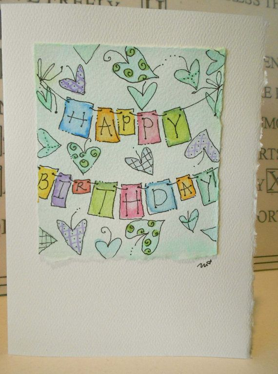 Birthday+On+The+Line+Big+Card+5x7+Watercolor+by+betrueoriginals,+$3.50