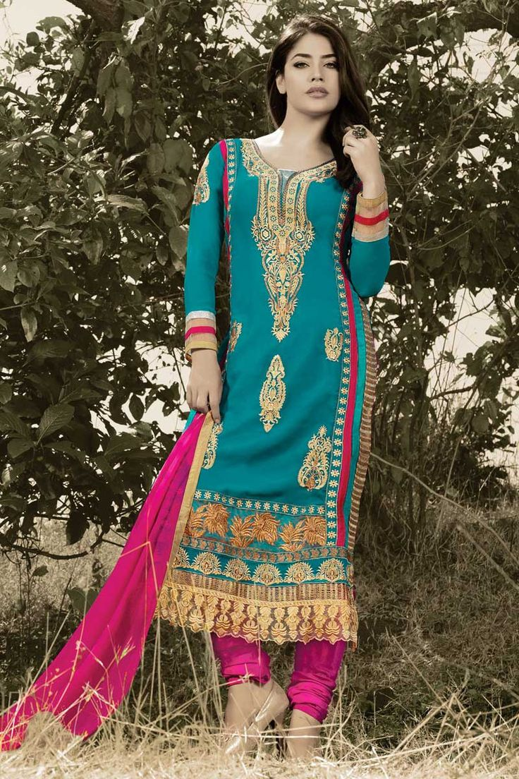 Blue and pink Georgette Churidar Suit With Dupatta Blue and pink Georgette, semi stictch churidar suit. Allover embroidered with embroidered and zari work. U neck, Below knee length, full sleeves kameez. Pink santoon churidar. Pink chiffon dupatta with lace border with work. Product are available in 34,36 sizes. It is perfect for casual wear, festival wear, party wear and wedding wear. Work of embroidary,haeavy zari,lace border plus embroidery butta.