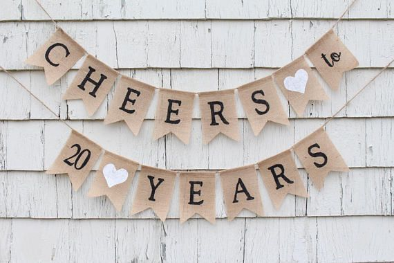 Cheers To 20 Years Banner 20th Birthday Decorations 20th Etsy 20th Anniversary Decorations 10th Anniversary Decorations 60 Anniversary Decorations