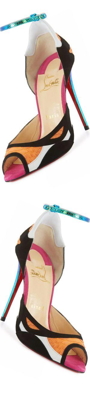 Christian Louboutin Discodeporte Python/Suede Red Sole Pump https://www.pinterest.com/lahana/shoes-zapatos-chaussures-schuhe-%E9%9E%8B-schoenen-o%D0%B1%D1%83%D0%B2%D1%8C-%E0%A4%9C/
