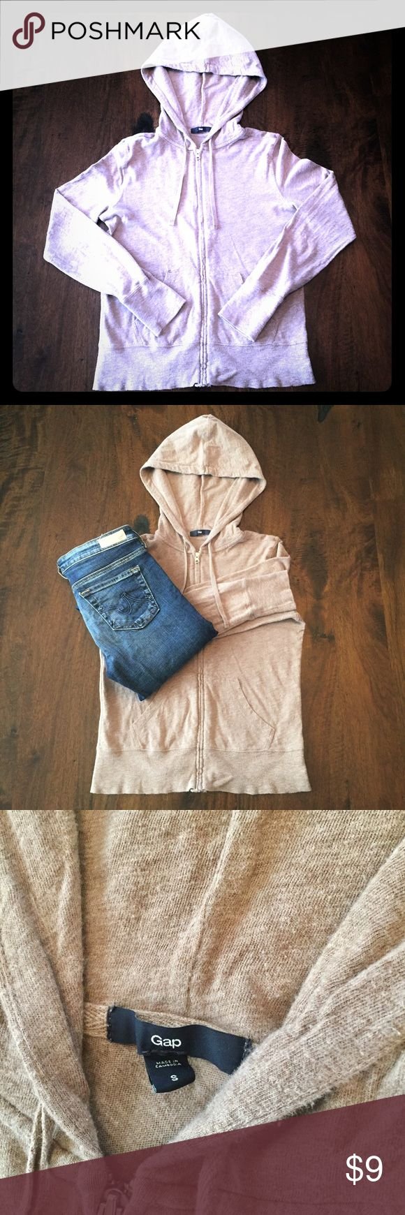 Gap Essential Zip-Up Hoodie (Women's S) You'll love this Essential Hoodie from the Gap! Garment washed for everyday softness. Lightweight 100% cotton. Long sleeves. Hoodie with drawstring tie. Kanga pockets at front. Size S. Beige color. Perfect for layering! GAP Tops Sweatshirts & Hoodies