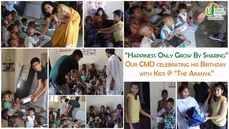 Our CMD Celebrating & Sharing Happiness on his Birthday with kids at our site The Aranya