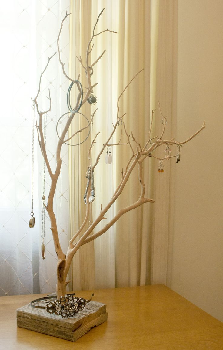 Upcycled Manzanita Jewelry Stand: another adorable upcycled stand - possible a DIY project? #greendorm