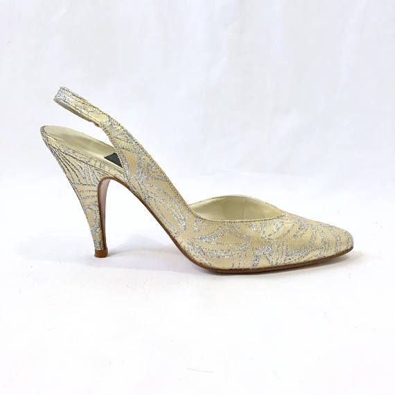 Vintage Stuart Weitzman for Mr. Seymour Pumps Gold Silver