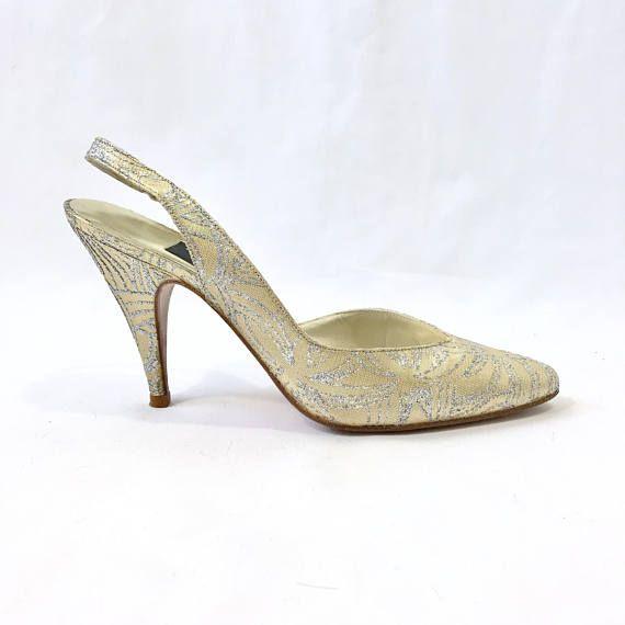 Vintage Stuart Weitzman for Mr. Seymour Pumps Gold Silver