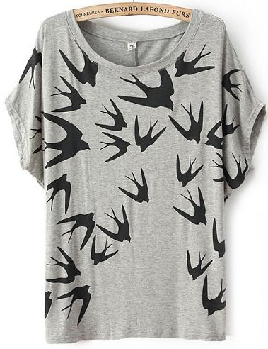 Grey Batwing Short Sleeve Swallow Print T-Shirt - Sheinside.com