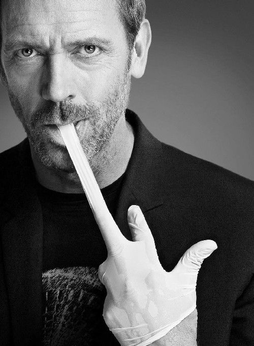 ♂ Black and white man portrait Hugh Laurie.
