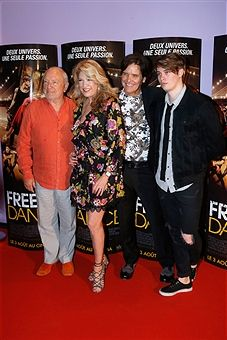 Director Paul Freeman, producer Janeen Damian, director Michael Damian and actor Nicholas Galitzine attend the 'Free Dance' Paris Premiere at Gaumont Aquaboulevard on August 2, 2016 in Paris, France.