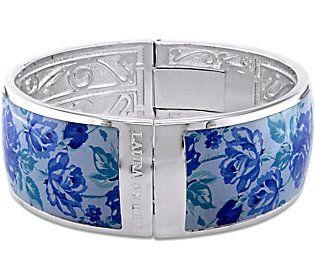 Laura Ashley Blue Floral Enamel Bangle
