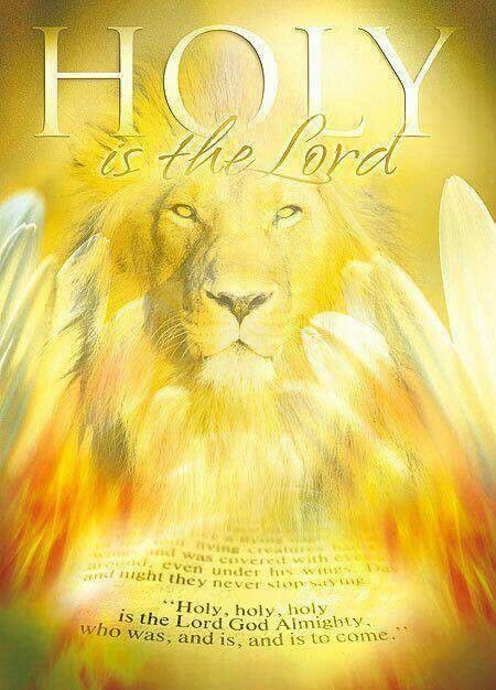 Lion of Judah in golden light. Holy is the Lord. Prophetic art painting with angel wings.