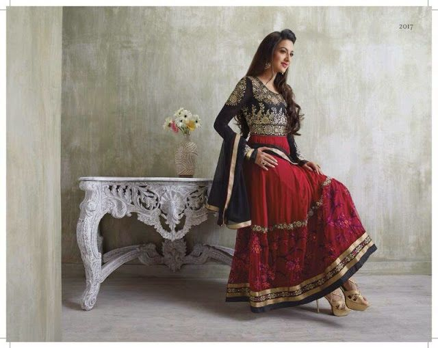 Gauhar Khan Red Semi stitched Anarkali Suit