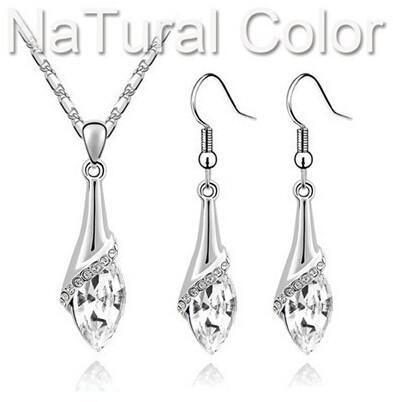 Jewelry Sets angel eyes tear water drop 18K Austria Crystal pendant lace earrings