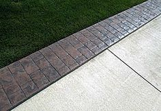 Decorative Stamped Pattern Driveway Border (for idea of expanding concrete patio with pavers/flagstones)