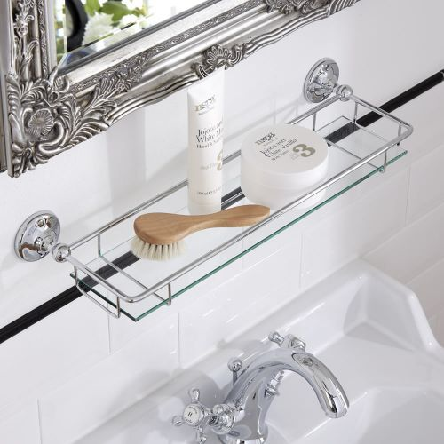 Enhance Your Traditional Bathroom With This Glass Shelf By Milano