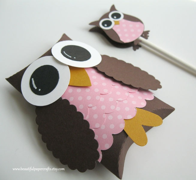 Brown and Pink Owl Favor Boxes- Owl Baby Shower Decorations/First Birthday (Make green for boys)
