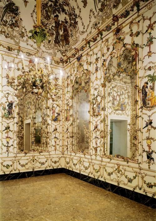 Giuseppe Gricci (modeler), Johann Sigmund Fischer (painter), and Luigi Restile (painter). Porcelain Boudoir from the Palazzo Reale di Portici (moved to the Palazzo Reale di Capodimonte in 1866). 1757-1759.  Porcelain and stucco painted and gilt.  Museo di Capodimonte. Napoli, Italia.