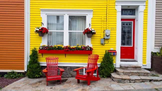 Houses in St. John's, Newfoundland, Canada along 'Jellybean Row' were painted bright colors in the 1970s.