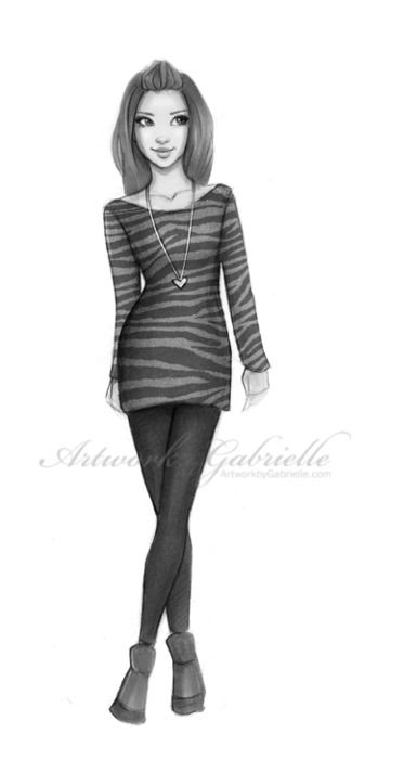 Girl illustration, drawing #heart / Ragazza, illustrazione, disegno #cuore - Artwork by Gabrielle (Art by gabbyd70 on deviantART)