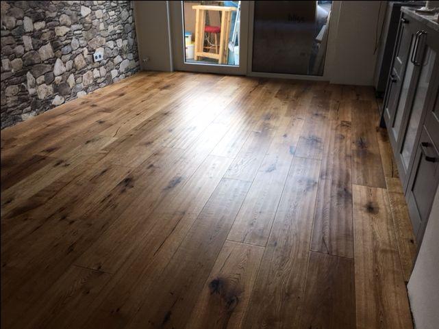 Beton Parkett Eiche Gelt Bodenbeschichtung DW Holz