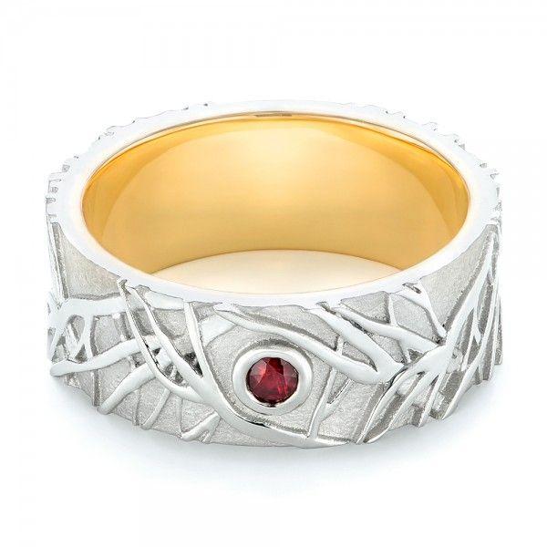 custom two tone organic ruby mens ring joseph jewelry bellevue seattle