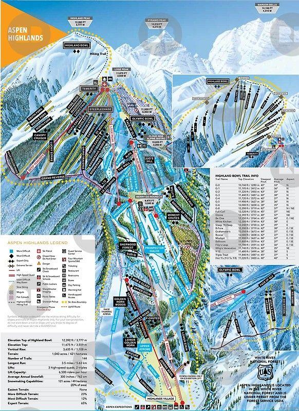 Aspen Highlands Ski Resort Trail Map Colorado Snowboard Mountain Colorado Snowboarding Ski Resort Trail Maps
