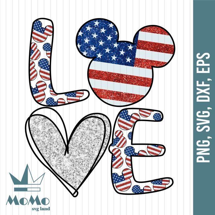 Download Love Svg, Mickey Svg, Disney Svg, American Flag, 4th Of ...