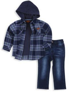 7 For All Mankind Baby's & Toddler's Hooded Flannel Shirt, Tee and Jeans Set