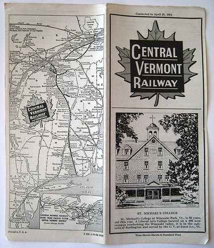 vintage 1954 central vermont cv railroad passenger timetable train schedule
