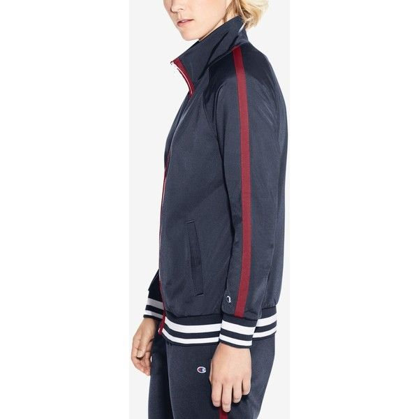 Champion Track Jacket ($55) ❤ liked on Polyvore featuring activewear, activewear jackets, champion sportswear, athletic sportswear, athletic warm up jackets, champion activewear and warm up jackets