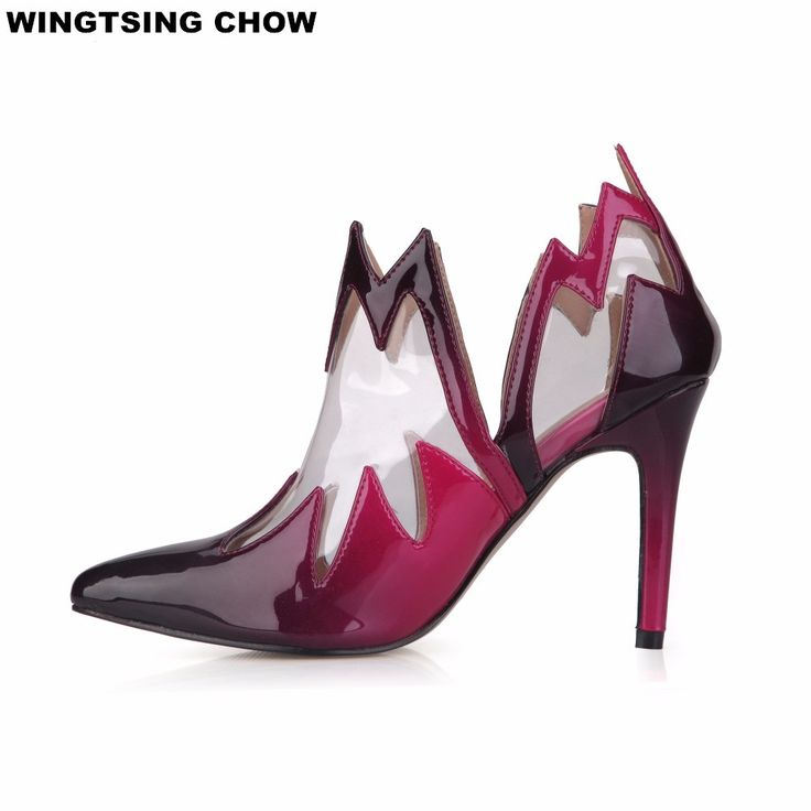 42.39$  Watch now - http://ali8r8.shopchina.info/1/go.php?t=32463507665 - Plus Size 35-43 Autumn Transparent Leather Women Boots Sexy Blue High Heel Pointed Toe Ankle Boots Women Pumps Ladies Shoes  #aliexpresschina
