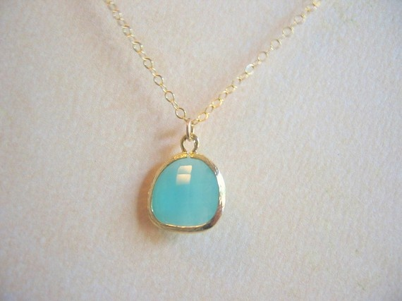 Aqua Glass Gold Trimmed NecklaceBridesmaids Jewelry, Bridal Jewelry. $30.00, via Etsy.