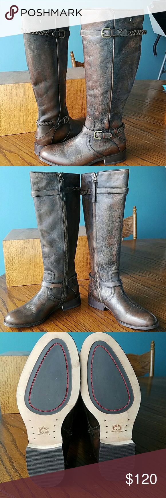 HS Trask Estelle leather riding boots sz 7 These are the real deal. They make my closet smell like a saddlery. Bought at Nordstrom for a insane amount of money, and have never worn because I'm afraid I'll mess them up. Can't stand to see them sit. Please no low balling, these are worth every penny. Check out my other auctions, too. Italian brush-off leather upper with braided leather straps Side-zip closure Microfiber lining and sock Memory foam-cushioned insole. Antiqued leather sole with…