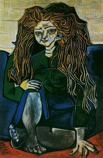 Pablo Picasso. Portrait of Madame Helene Parmelin green background. 1951
