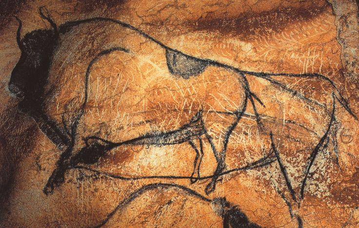 Black bison, prehistoric painting from the Chauvet Cave, southern France. The paintings date from30,000-32,000 years old.
