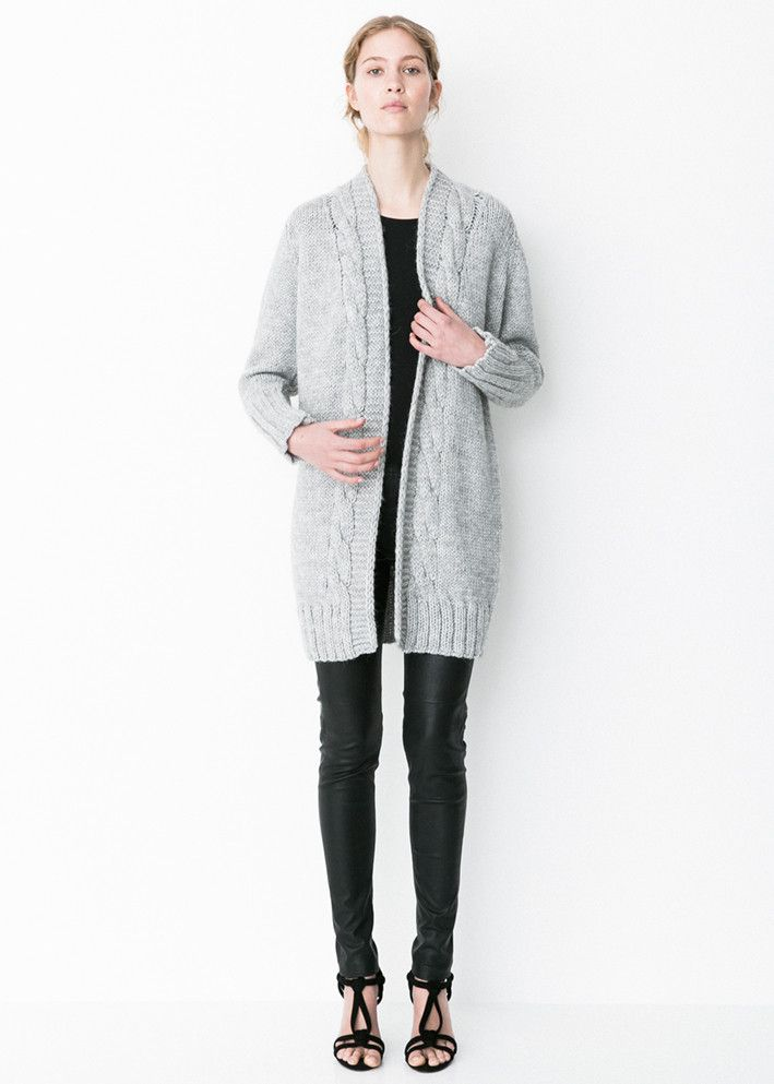 Storm & Marie Birch Cardigan light grey melange - Grovstrikket cardigan – acorns